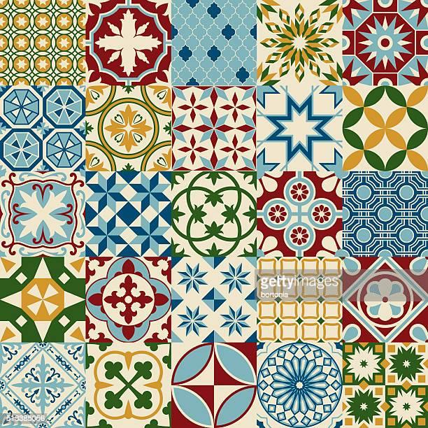 Jahrgang bunte Mosaik nahtlose Musterung Porzellanfliesen