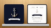 Vintage Nautical Anchors Wedding Invitation Card in Navy Blue Theme on Wood Background