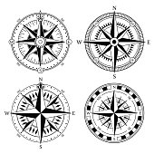 Vintage nautical compass signs vector set, retro direction symbols.