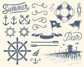 Set of isolated nautical items