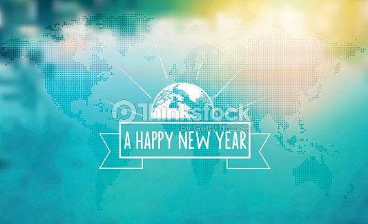 vintage new year 2016 label on blurred world map background vector art