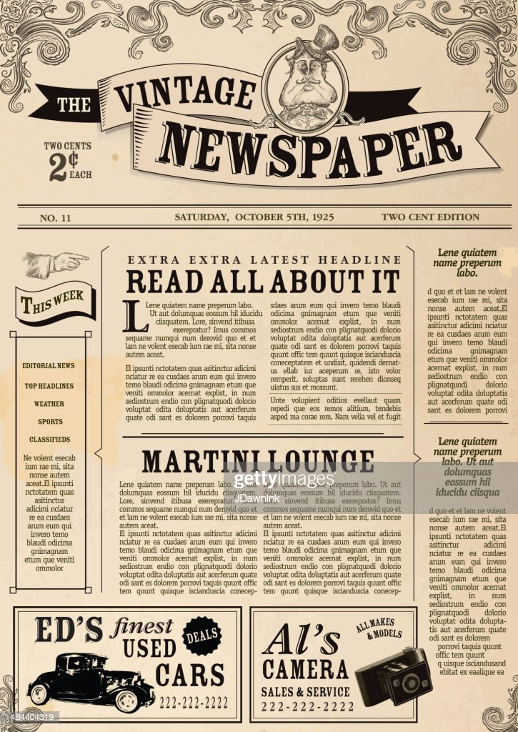Vintage Newspaper Layout Design Template Vector Art | Getty Images