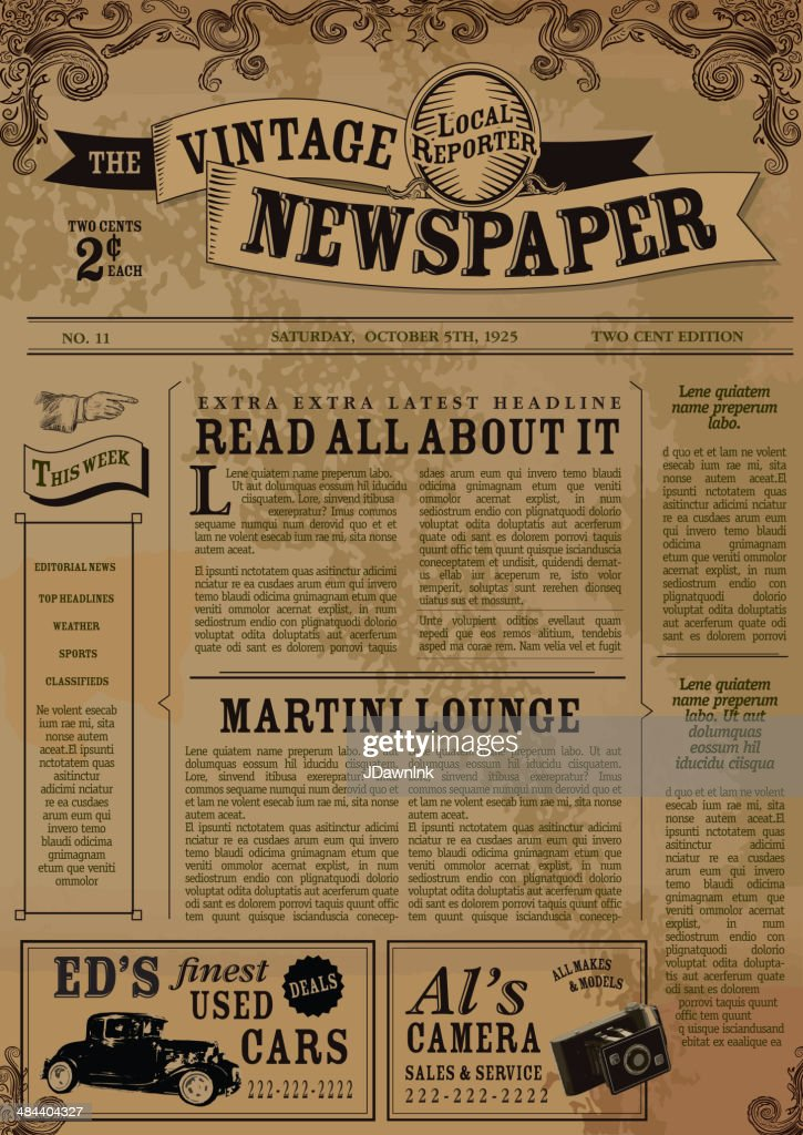 vintage newspaper layout design template vector art getty images. Black Bedroom Furniture Sets. Home Design Ideas