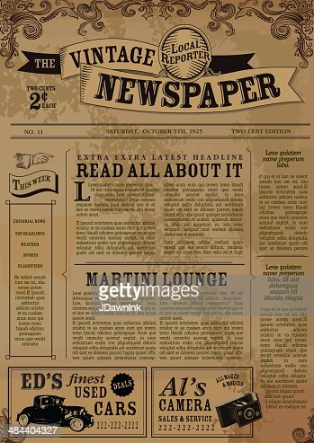 Vintage Victorian Style Newspaper Design Template Vector Art