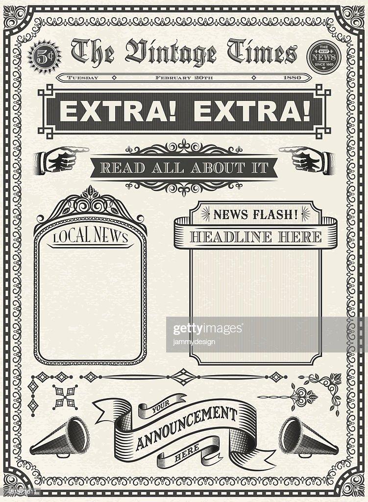Vintage Newspaper Vector Art  Getty Images