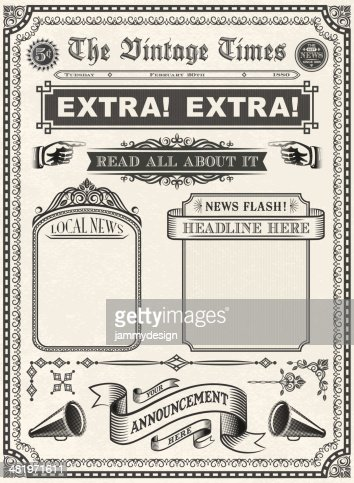 Vintage Newspaper Vector Art | Getty Images