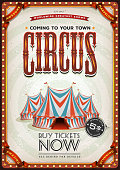 Illustration of a retro and vintage circus poster background, with red and blue big top, elegant titles and grunge texture