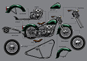 vector of vintage old motorcycle with separated parts