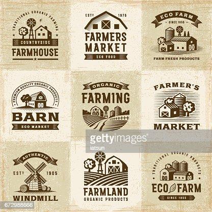 Der ökologische Landbau Etiketten-Set Vintage : Vektorgrafik