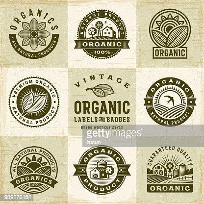 Vintage Bio Etiketten und Abzeichen Set : Vektorgrafik