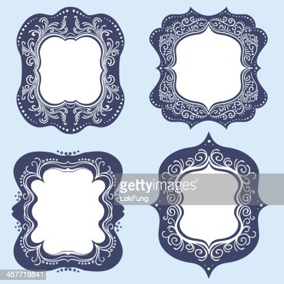 vintage ornate frames in navy blue vector art