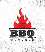 Vintage Outdoor Food Barbecue BBQ Graphic Vector Design Element.