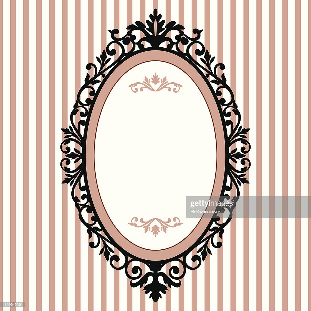 Vintage Oval Frame With White And Pink Striped Background Vector Art