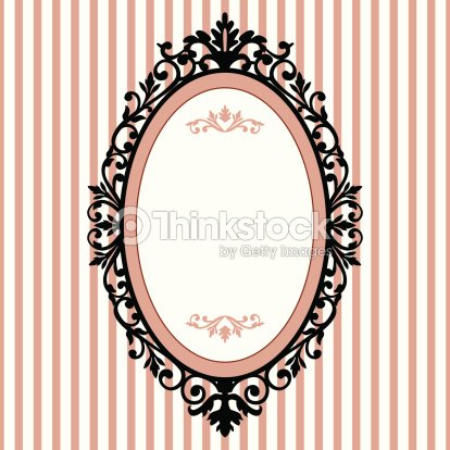 Vintage Oval Frame With White And Pink Striped Background Vector Art ...