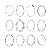 Vintage oval hand drawn frames set, vector isolated design elements.