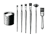 Vintage paint brushes set and paint can hand drawing clip art isolated on white background