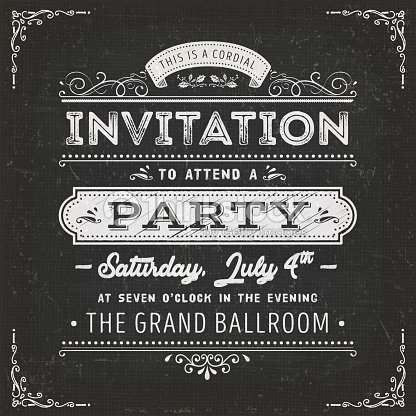 Vintage Party Invitation Card On Chalkboard : stock vector