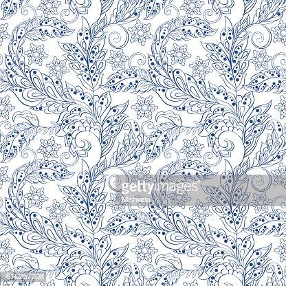 vintage patrón floral en indian batic style. vector fondo de : Arte vectorial