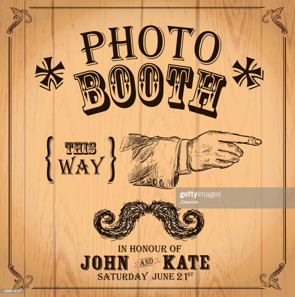 Vintage Photo booth design template pointing hand and mustache : Vector Art