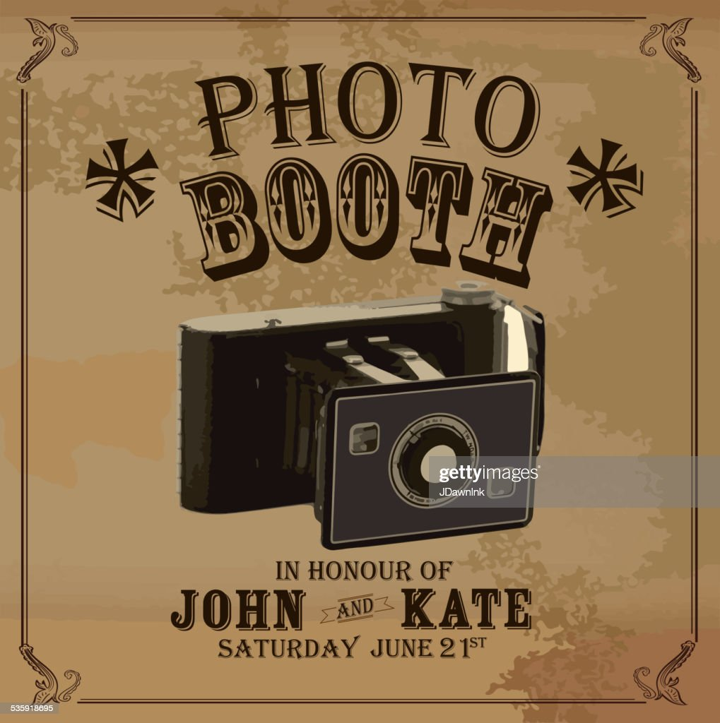 Vintage Photo booth design template with vintage camera : Vector Art
