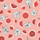 Elegant romantic pink retro watermelon and hibiscus vector seamless pattern. Great for textile, paper, home decor.