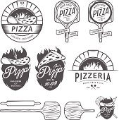 Vintage pizzeria labels, badges and design elements.