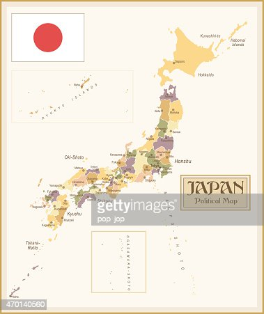A Vintage Political Map Of Japan Vector Art Getty Images - Japan map political