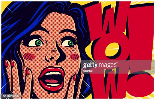 Vintage pop art style surpised and excited comic girl saying wow vector illustration : stock vector
