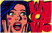 Vintage pop art style comic book panel with excited and surprised woman saying wow looking at something amazing retro vector illustration
