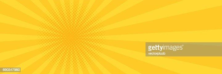 Vintage pop art yellow background. Banner vector illustration : stock vector