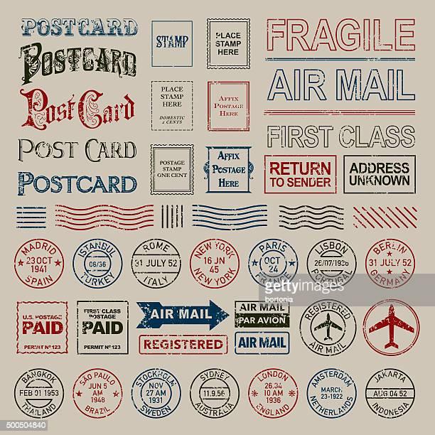 Vintage Postage and Postmark Stamps Set