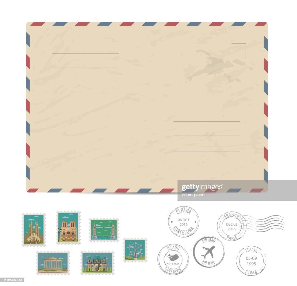 Vintage postal envelope with stamps : Vector Art
