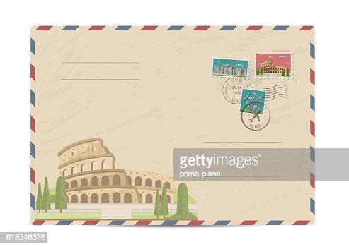 Vintage postal envelope with stamps : clipart vectoriel