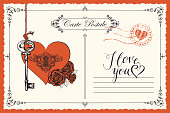 Vector retro postcard on the theme of declaration of love with key, keyhole in the heart and red roses. Romantic valentine card in vintage style with inscription I love you and place for text