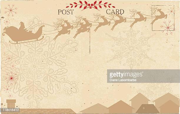 Retro Postkarte mit Weihnachtsmann und Rentier in Beige-Silhouette