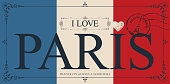 Retro postcard with words I love Paris and rubber stamp with Eiffel tower. Vector card in the colors of the French flag in figured frame in vintage style
