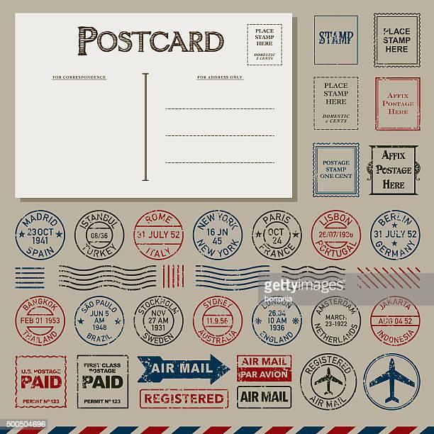 Vintage-Postkarten und Briefmarken Set Poststempel