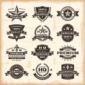 A set of fully editable vintage premium quality labels in woodcut style. EPS10 vector illustration. Includes high resolution JPG.