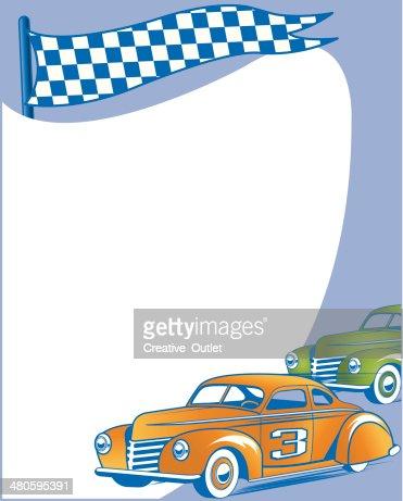 Vintage Race Cars Frame C : Vector Art