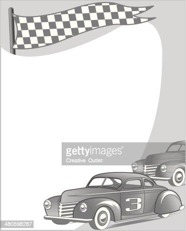 Vintage Race Cars Frame : Vector Art