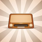 Vector illustration of the brown vintage radio.