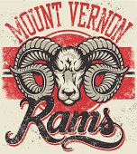 """Retro """"Rams"""" athletic design complete with ram head mascot vector illustration, vintage athletic fonts and matching textures (all on separate layers, of course)."""