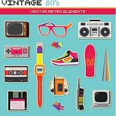 Vintage retro 80's vector elements collection
