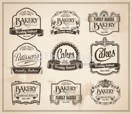 Boulangerie r tro tiquette vintage banni re ensemble for Classic house bakery