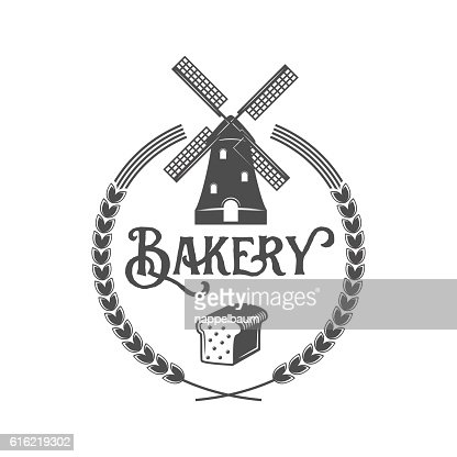 vintage retro bakery logo badge or label : Vektorgrafik