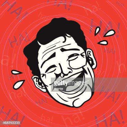 Vintage Retro gráficos prediseñados: Jo, jo, jo, hombre Riendo en voz alta : Arte vectorial