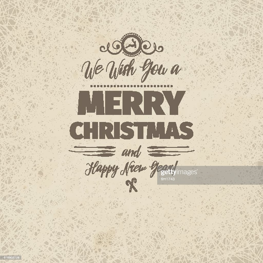 Vintage retro flat style trendy Merry Christmas card : Vector Art