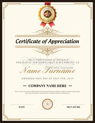 certificate of appreciation template psd free download - vintage retro frame certificate background template vector
