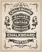 Vintage retro hand drawn banner set - vector illustration with texture added. Label design with ribbons and scrolls.