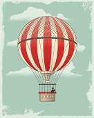 Vintage Retro Hot Air Balloon. Textured vector design background with cloud formation.